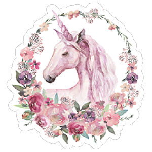 Watercolor Unicorn and Flowers Sticker