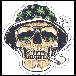 Weed Smoking Skull In Hat Sticker