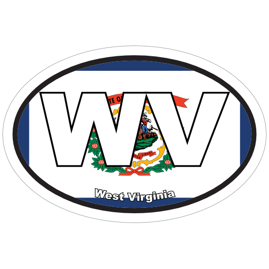 West Virginia Wv State Flag Oval Sticker
