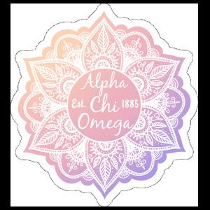 White Alpha Chi Omega Mandala Sticker