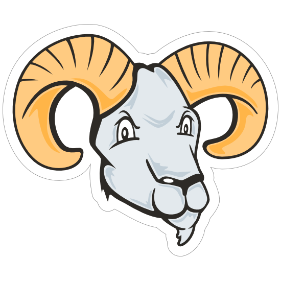 White Ram Mascot Sticker
