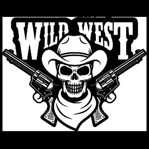Wild West Skull Cowboy Sticker