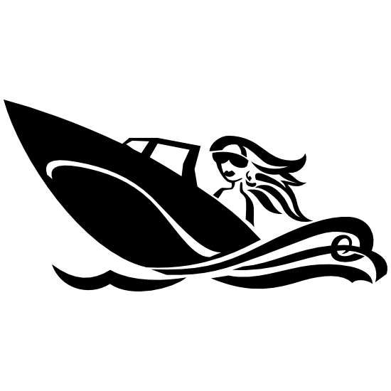 Woman Boating Sticker