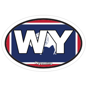 Wyoming Wy State Flag Oval Sticker