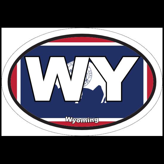 Wyoming Wy State Flag Oval Sticker
