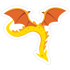 Yellow Amphithere with Orange Wings Dragon Sticker