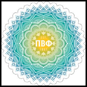 Yellow and Blue Pi Beta Phi Mandala Sticker