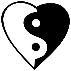 Yin And Yang In A Heart Sticker