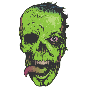 Zombie Face with Tongue Out Sticker