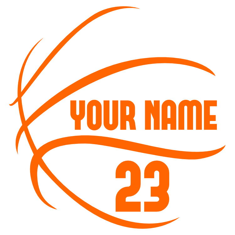 Custom Basketball Lines with Your Text and Number