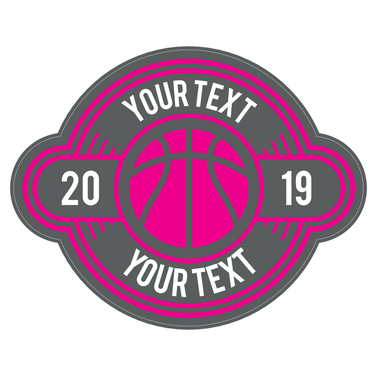 Custom Simple Color Text Basketball Circle Sticker