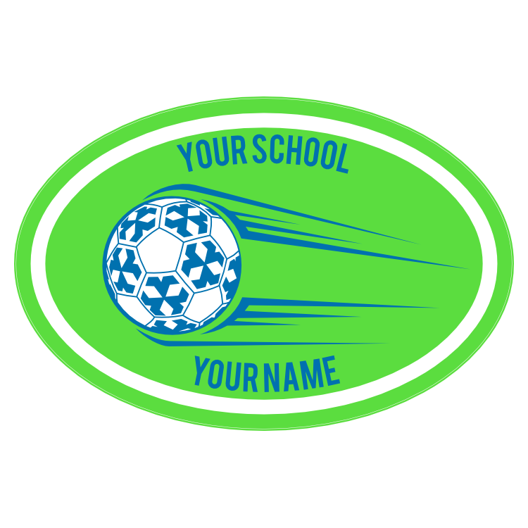 Custom Soccer Ball Going Up Oval Sticker