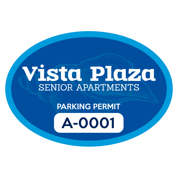 Apartment Resident Oval Parking Permit Sticker
