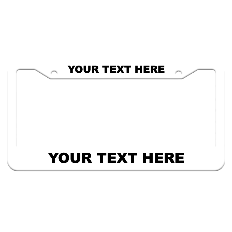 Customizable Thick Top-Thick Bottom White License Plate Frame