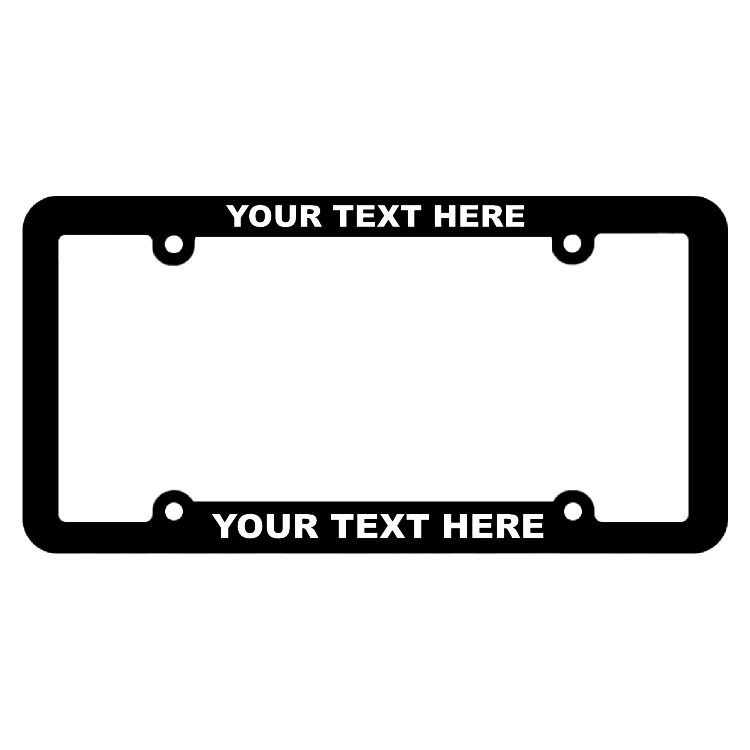 Customizable Thin Top-Medium Bottom Black License Plate Frame