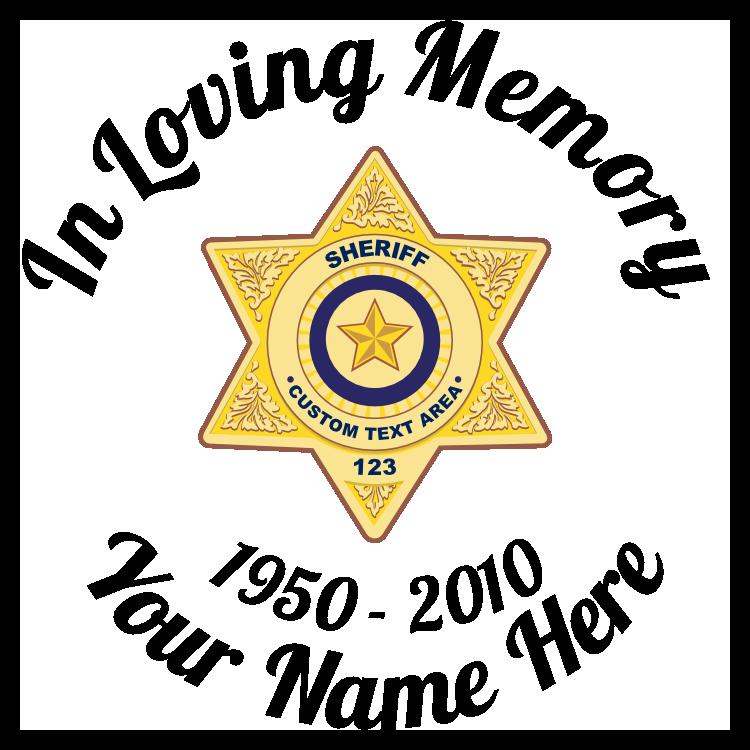 In Loving Memory Sticker Sheriff Badge
