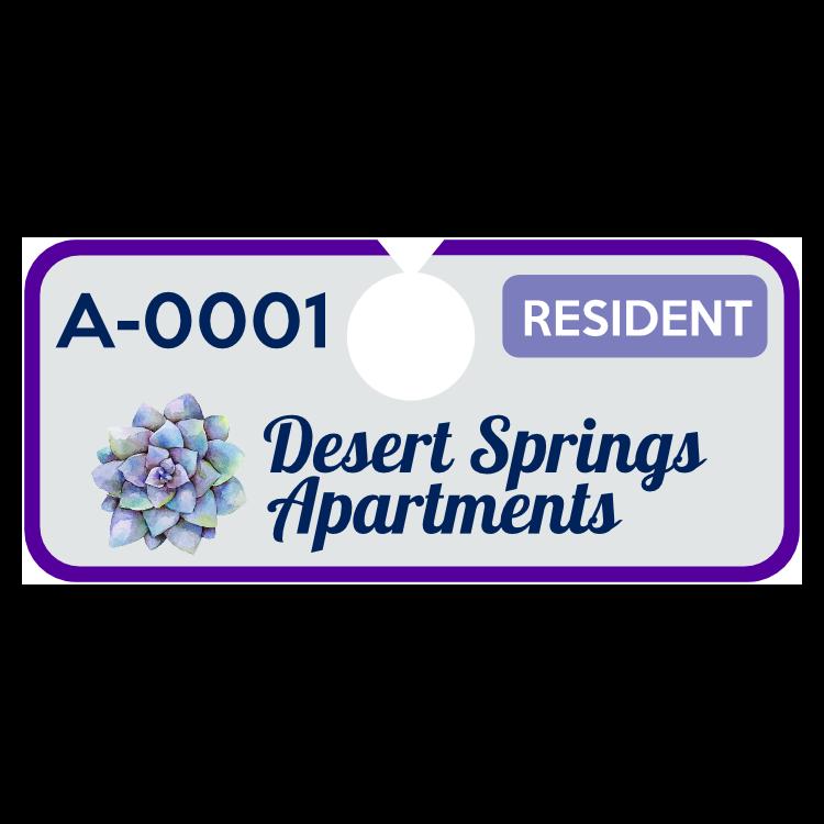 Horizontal Apartment Hang Tag Parking Permit