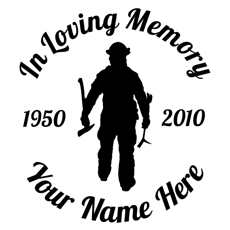 In Loving Memory Firefighter Fireman With Axe Sticker