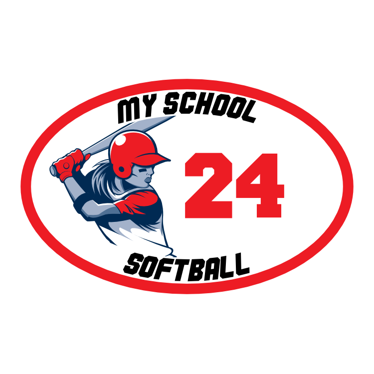 Custom Softball Close-Up Oval with Team Colors Magnet