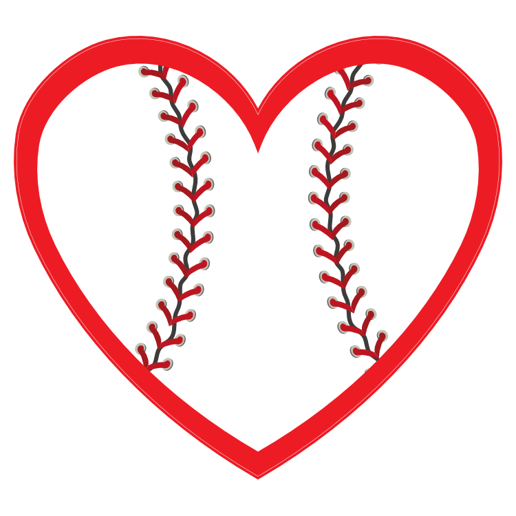 Custom Baseball Heart with your Colors