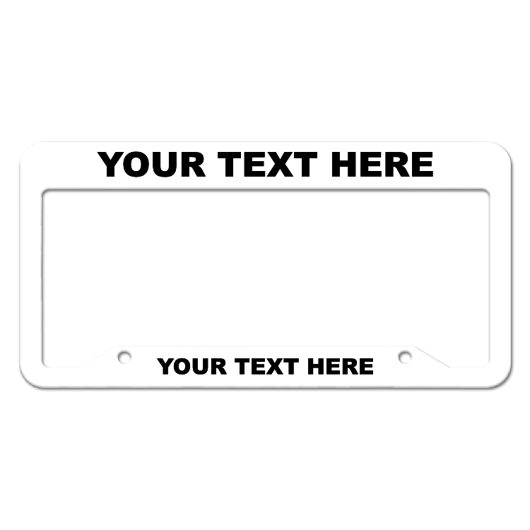 Customizable Inverted Thick Top-Thick Bottom White License Plate Frame