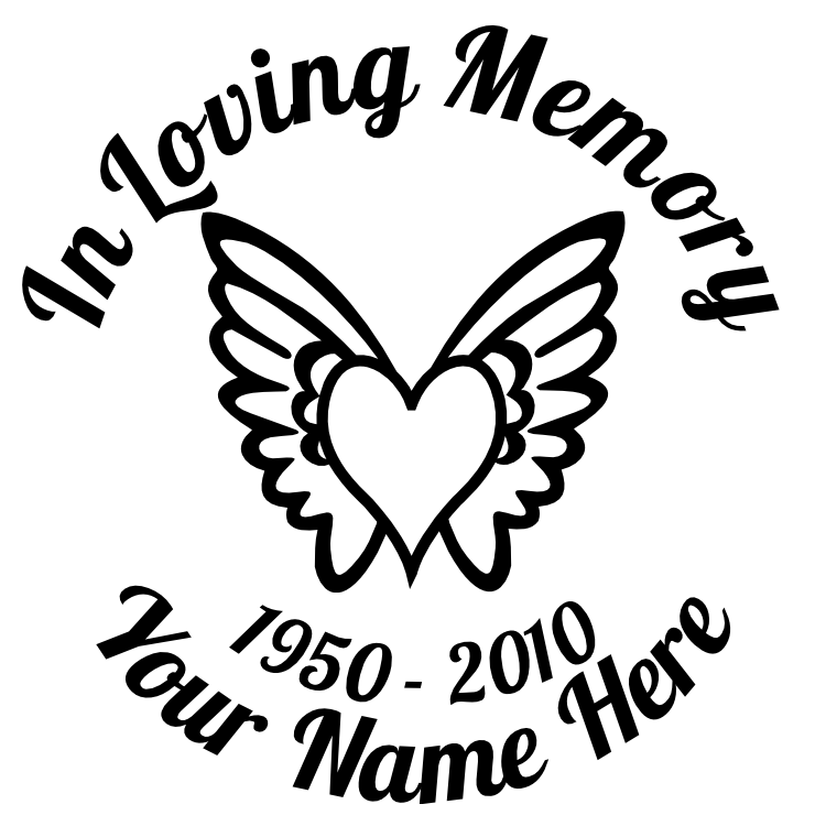 In Loving Memory Heart with Wings Sticker