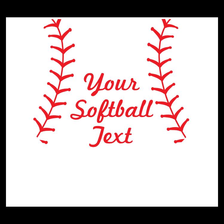 Custom Heart Softball Sticker with Text