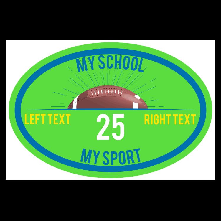 Custom Oval Football with Burst Team Sticker