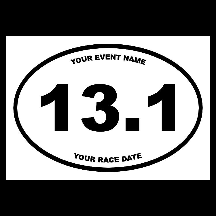 Custom Half Marathon Oval Sticker with Your Text