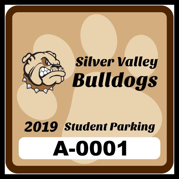 Paw Print Square School Parking Permit Sticker