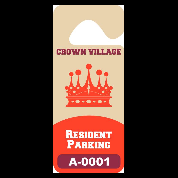 Tall Rectangular Apartment Hang Tag Parking Permit
