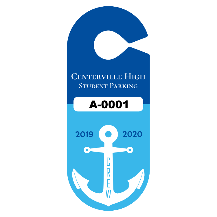 Crew Rowing Team Oval School Hang Tag Parking Permit