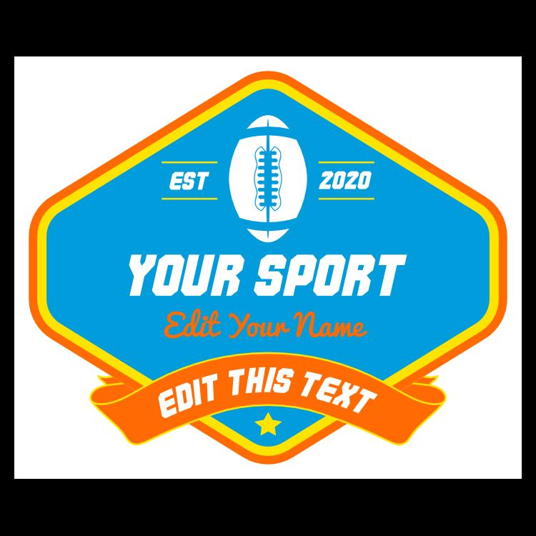 Custom Diamond Football Sticker with Banner