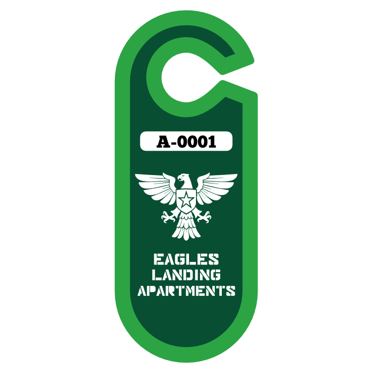 Large Oval Apartment Parking Permit Hang Tag
