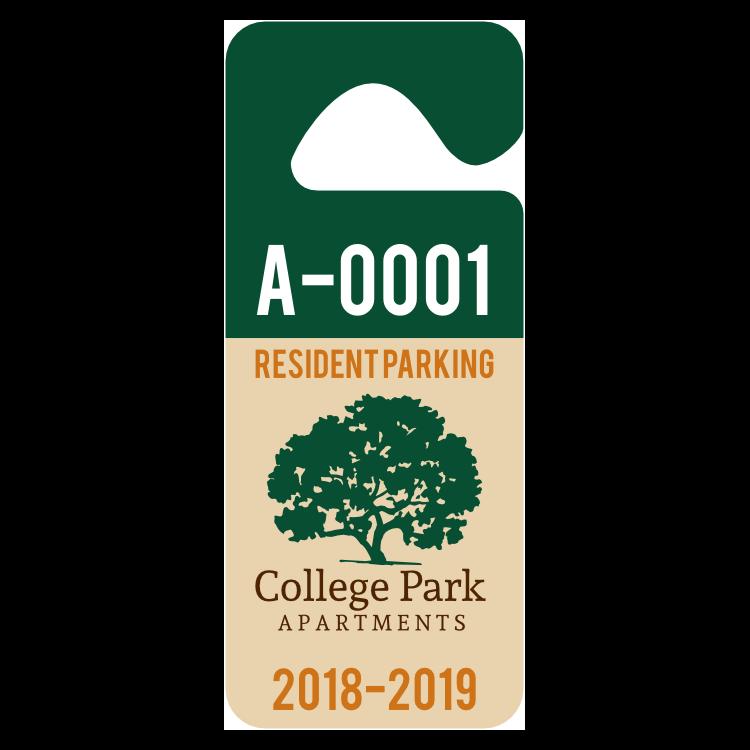 Long 2-Color Apartment Hang Tag Parking Permit