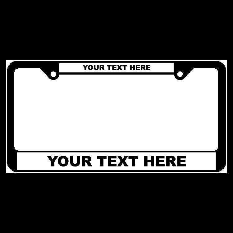 Custom Black Plastic Frame with Raised Lettering on White Panel