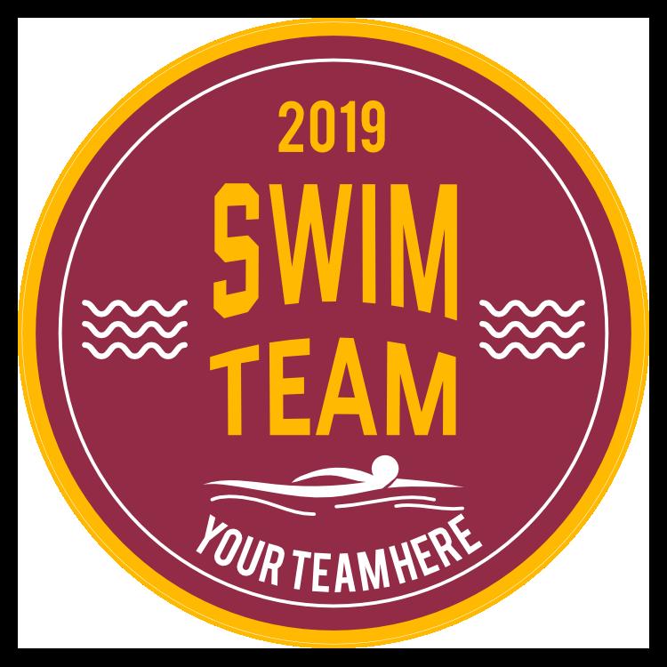 Custom Swim Team Circle Sticker