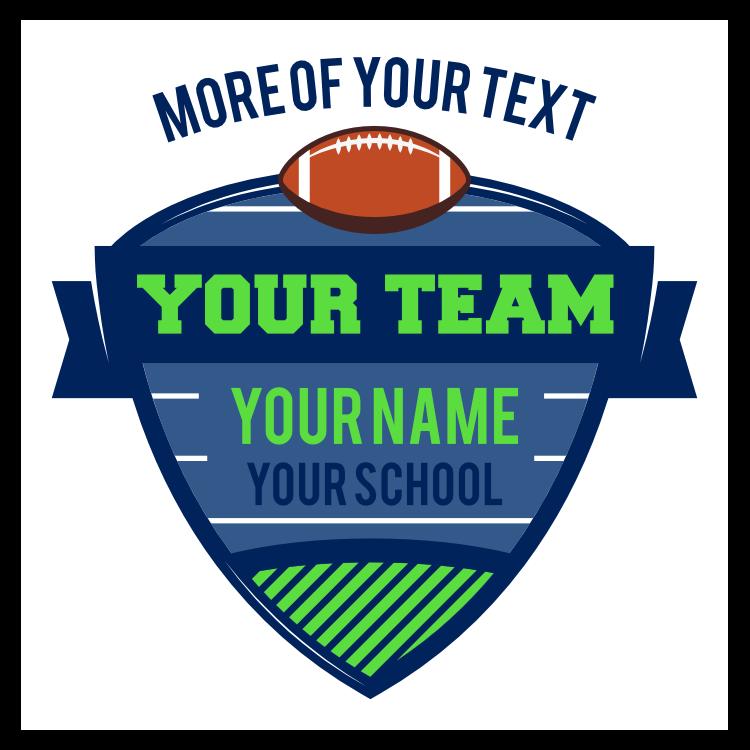Custom Football Shield with Text