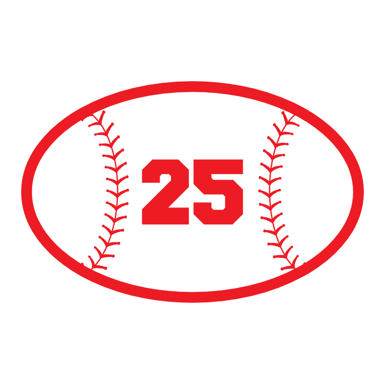 Custom Oval Softball Sticker with your Number
