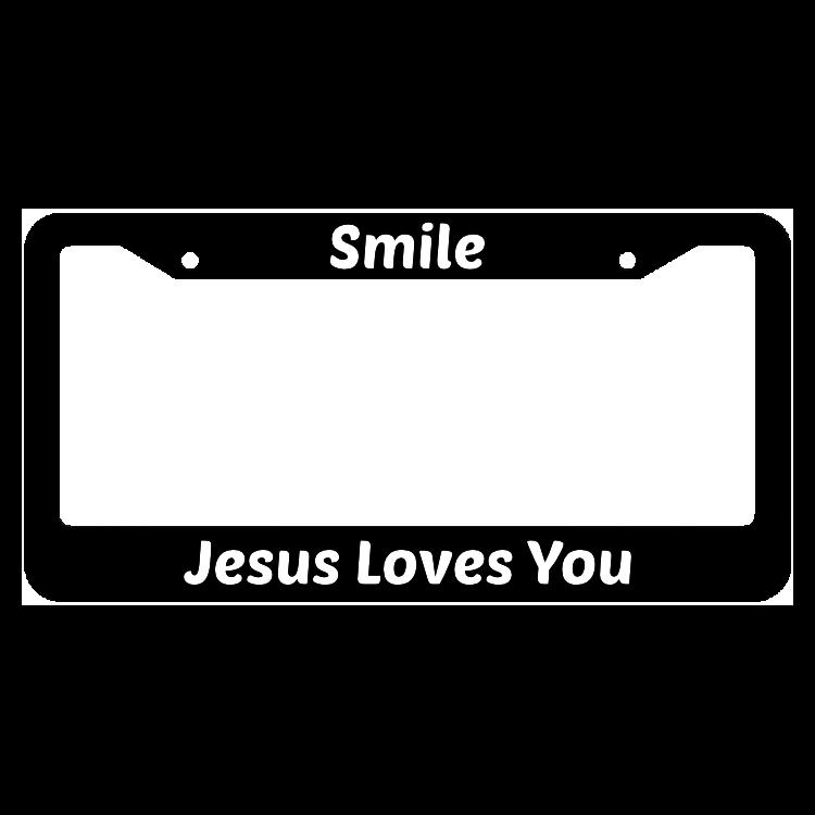 Smile Jesus Loves You License Plate Frame