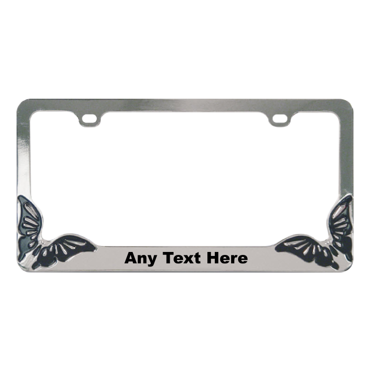 Customizable Butterfly Metal License Plate Frame