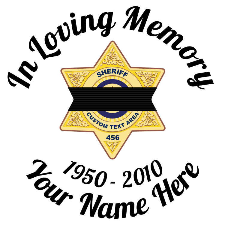 In Loving Memory Sticker with Black Band on Sheriff Badge