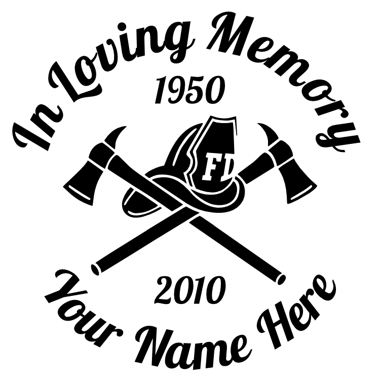 In Loving Memory Firefighter Fireman Hat and Axes Sticker