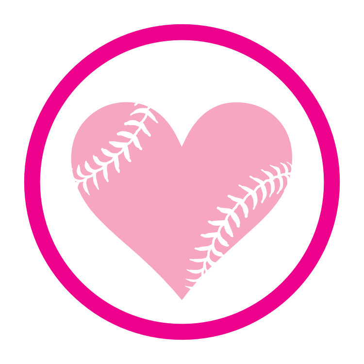 Custom Circle Softball Magnet with Seams in a Heart