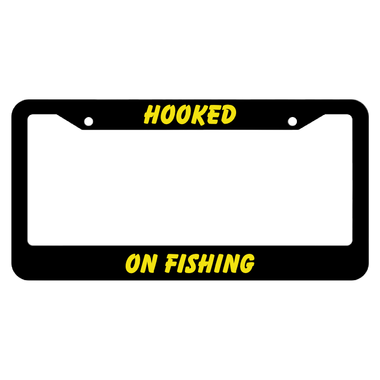 Hooked On Fishing License Plate Frame