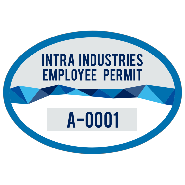 Divided Oval Employee Parking Permit Sticker