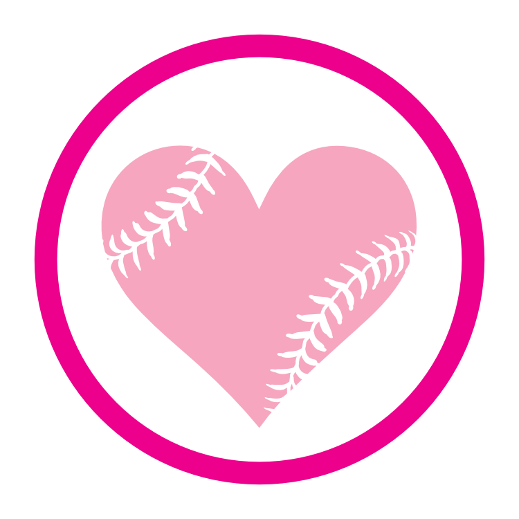 Custom Circle Baseball Sticker with Seams in a Heart