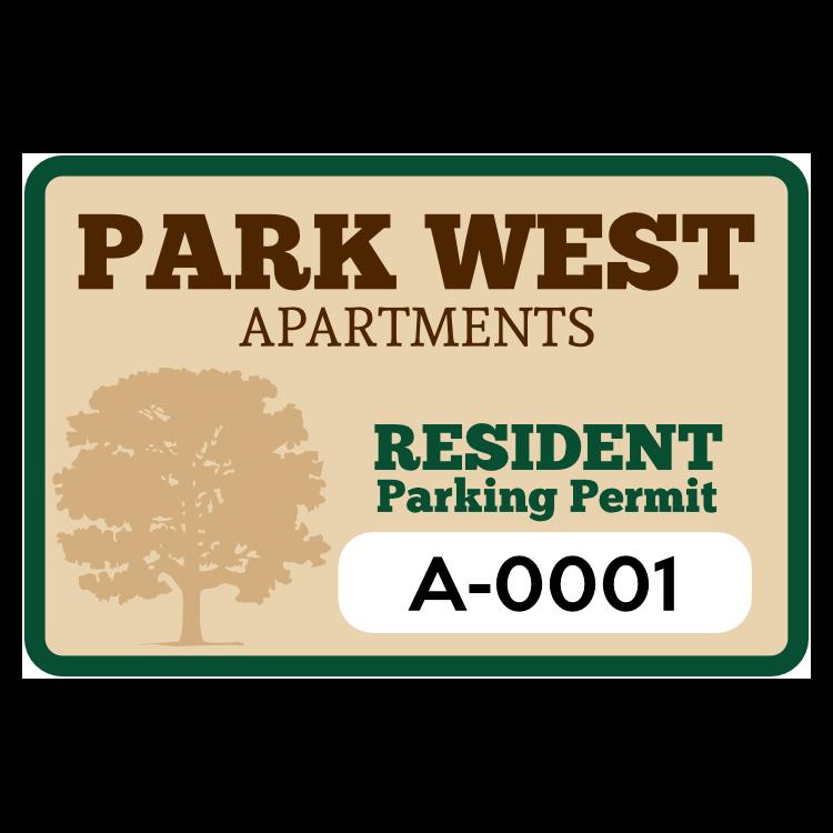 Apartment Rectangle Parking Permit Sticker