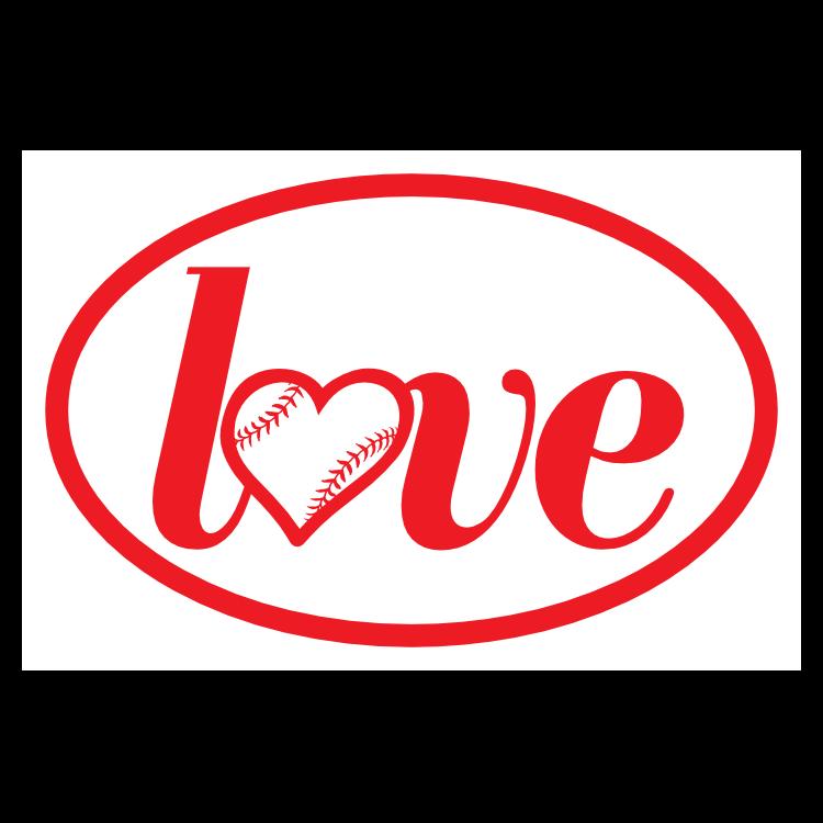 Custom Love Baseball or Softball Oval Sticker