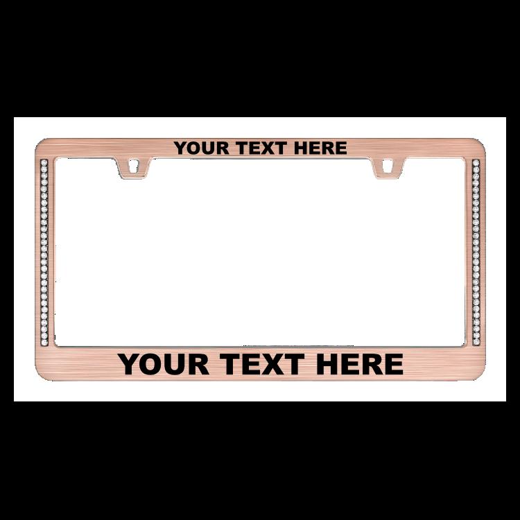Custom Diamond Neo Rose Gold License Plate Frame